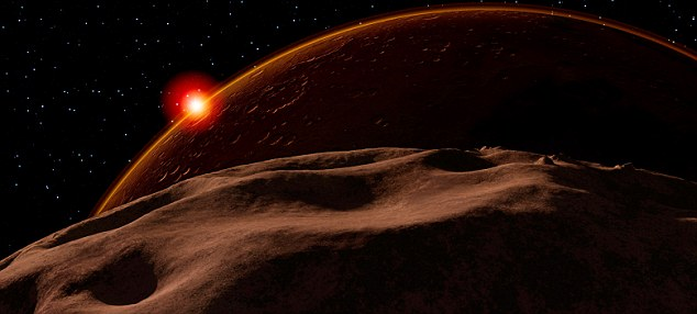 An eclipse of the Sun by Mars, as seen from Phobos, its nearest moon.