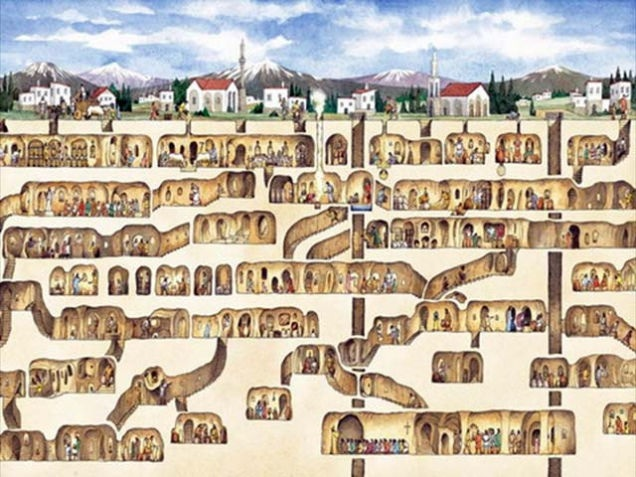 The 6-story Derinkuyu Underground City, Turkey