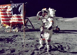 The Last Man on the Moon:Eugene Cernan poses by the flag in his A7L spacesuit in December 1972.(Image Credit:NASA)
