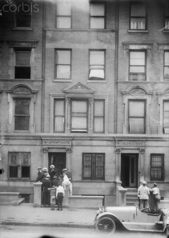 11 Jun 1920, Manhattan, New York City, New York State, USA --- Joseph Elwell, a wealthy clubman of 45 was found mortally wounded in his apartment at 244 West 70th Street New York City. Elwell was well known in the society circles as an authority on bridge whist and in addition was an owner of a racing stable. He was discovered unconscious in the front room of his apartment on the ground floor of West 70th Street building by his housekeeper. There was bullet would in his forehead. The police discount the death as a suicide, as the revolver could not be found though the empty shell was found. Money and jewels of the dead man was not touched. The murder remains unsolved today and is considered a classic ?locked room? mystery, as the body was discovered in a room locked from the inside. --- Image by © Bettmann/Corbis