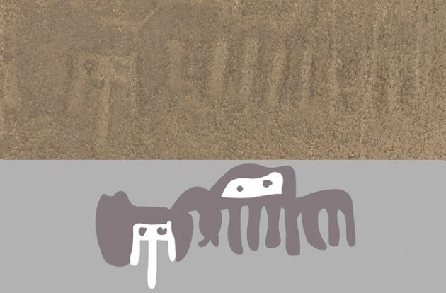 new Nazca geoglyph (top) found in Peru has been uncovered -- below, its hypothetical reconstruction.  MASATO SAKAI