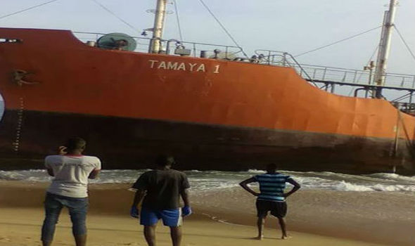 MYSTERY as huge 'ghost ship' oil tanker washes up on coast with NOBODY on board