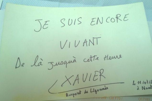Photo de la copie de la lettre envoyée par Xavier Dupont-Ligonnès à une journaliste nantaise