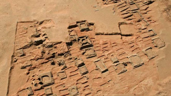 This aerial photo shows a series of pyramids and graves that a team of archaeologists has been exploring at Sedeinga in Sudan. Since 2009 they have discovered at least 35 small pyramids at the site, the largest being 22 feet in width.