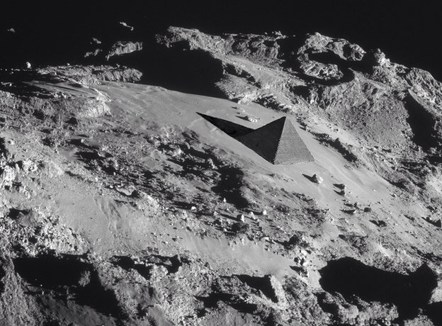 superimposed Cheops pyramid gives a sense of scale to the terrain on Comet 67P