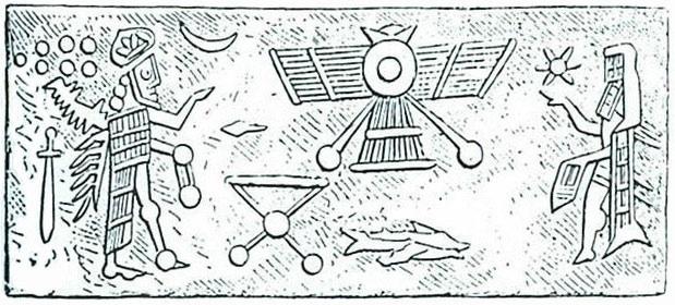 Mars visitors on ancient illustration