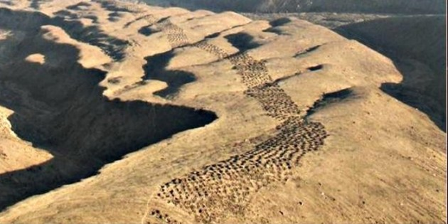 The mysterious band of holes, Pisco Valley on the Nazca Plateau