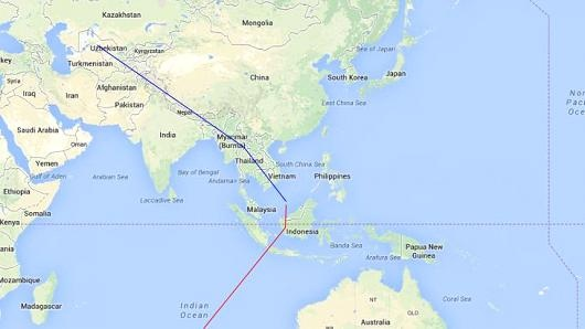 data shows two flight paths