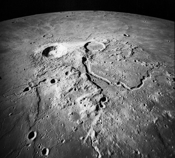 Apollo 15 photo of  mysterious markings at Aristarchus crater