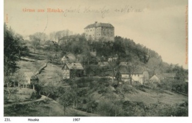 An early picture of the strange Houska Castle